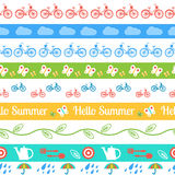Set of  seamless borders. Hello summer. Royalty Free Stock Photography