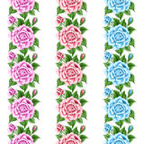 Set of seamless borders with roses Stock Photo