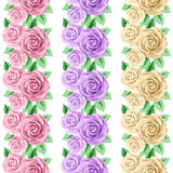 Set of seamless borders with roses. Hand drawn vector illustration in retro style Royalty Free Stock Images