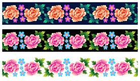 Set of seamless borders with roses Royalty Free Stock Photos