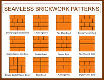 Set of seamless brickwork patterns Stock Image