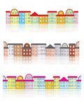 Buildings with reflection patterns. Set of seamless buildings with reflection patterns Stock Photography