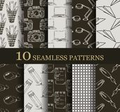 Set of 10 seamless business patterns. Can be used for wallpaper, website background, textile printing stock illustration