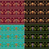 Set of seamless Byzantine patterns of different colors. Stock Images