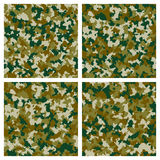 Set of seamless camouflage pattern in blue Stock Photos