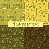 Set of Seamless Camping Patterns. Vector illustration in outline style Stock Photo