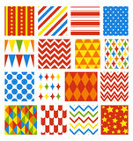 Set of Seamless Carnival Circus Festive Patterns Stock Photo
