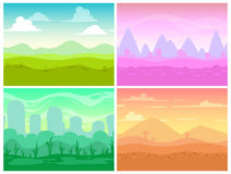 Set of seamless cartoon landscapes Royalty Free Stock Photos