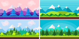Set of seamless cartoon landscapes for game design, horizontal nature background