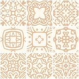 Set of seamless ceramic tiles with gold ornament. Vector illustration Royalty Free Stock Image