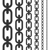 Set of seamless chains. Vertical seamless chains collection isolated on white background Royalty Free Stock Image