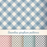 Set of seamless checkered gingham patterns Stock Photos