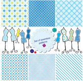 Set of Seamless checkered patterns Stock Photos