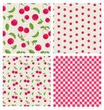 Set seamless cherry pattern vector illustration