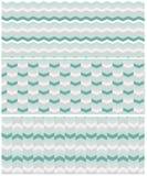 Set of 3 seamless chevron patterns in aqua green colors stock illustration