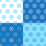 Set of seamless Christmas paterns. Vector crochet snowflakes winter background Stock Photos