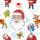 Set of seamless christmas pattern. Set of different pattern for christmas. New Year pattern in the form of Christmas characters. royalty free illustration
