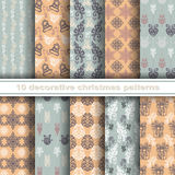 Set of 10 Seamless Christmas Patterns. Vector Set of 10 Seamless Christmas Patterns Royalty Free Stock Image