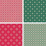 Set of seamless christmas patterns in vintage style Stock Images
