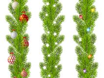 Set of seamless Christmas tree branches borders. Isolated on white Stock Photos