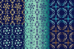 Set of seamless classic gold ornaments on a blue background vector illustration