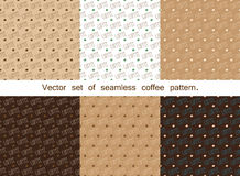 Set of seamless coffee pattern. Top view. Royalty Free Stock Image