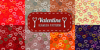 Set of Seamless Colored Pattern with Hearts. St. Valentine's Day Stock Image