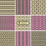 Set of seamless colored patterns with ethnic motifs Stock Photography