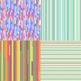 Illustration. Art creation. Set of seamless colored patterns. Pretty bright colors. Abstract geometric wallpaper of the surface. Striped backgrounds. Prints for Royalty Free Stock Photo
