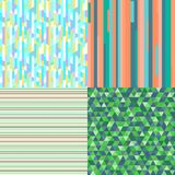 Illustration. Art creation. Set of seamless colored patterns. Pretty bright colors. Abstract geometric wallpaper of the surface. Striped backgrounds. Prints for royalty free illustration