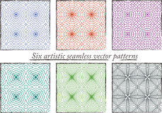 Set of 6 seamless colorful artistic patterns Royalty Free Stock Image