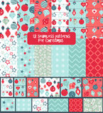 Set of seamless colorful bright and fun Christmas patterns Royalty Free Stock Photos