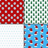 Set of seamless colorful Christmas and New Year patterns Stock Photo