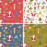 Set of Seamless Colorful Christmas Patterns. Backgrounds with xmas design elements Stock Photo