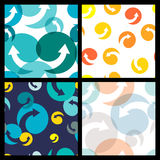Set of seamless colorful patterns. Abstract  arrow and circle Royalty Free Stock Photo