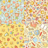 Set of seamless colorful patterns with kids, sweets, summer, school things. Set of seamless colorful patterns with kids, sweets, summer and school things Stock Image