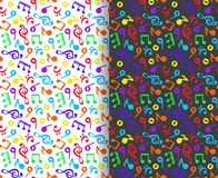 Set of seamless, colorful patterns with musical notes and treble clefs in black and white, vector illustration. Set of seamless, colorful patterns with musical Royalty Free Illustration