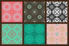 Set of seamless colorful patterns oriental ornamen Royalty Free Stock Photos