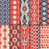 Set of seamless colorful retro patterns with Stock Photography