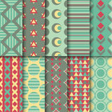 Set of seamless colorful retro patterns. Geometric. Style design. Vector illustration stock illustration