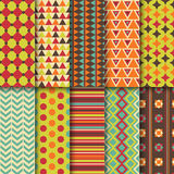 Set of seamless colorful retro patterns. Geometric Stock Images