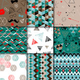 Set of seamless colorful retro patterns. Hipster Stock Photography
