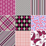 Set seamless colorful vintage pattern Royalty Free Stock Images