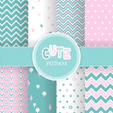 Set with seamless cute geometric patterns Stock Images