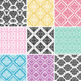 Set of seamless damask backgrounds. Stock Image