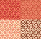 Set of seamless damask patterns. In red, coral, beige and brown colors Royalty Free Stock Photo