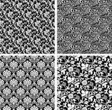 Set of seamless damask patterns. Set of seamless black and white damask patterns Royalty Free Stock Photography