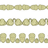 Set of the seamless decorative borders with acorns vector illustration