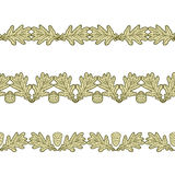 Set of the seamless decorative borders from oak leaves and acorn. Set of the seamless decorative borders from graphic oak leaves and acorns royalty free illustration