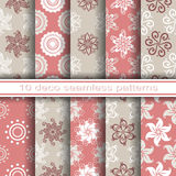 Set of 10 Seamless Decorative Floral Patterns Royalty Free Stock Photo